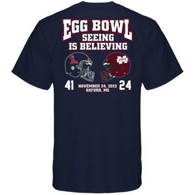 Mississippi Rebels vs. Mississippi State Bulldogs 2012 Egg Bowl Score T-Shirt