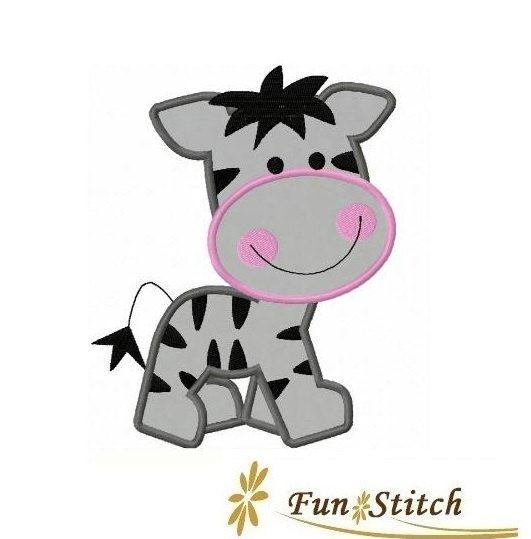 Zebra applique machine embroidery design appliques