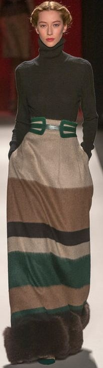 "Carolina Herrera FALL 2013 RTW - NYFW:    I would wear this .... Without the bottom ""fur""."