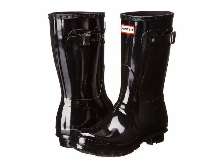 HUNTER SALE Worn Once Original Short Rain Rubber Black Gloss Boots Waterproof 8M #Hunter #Rainboots