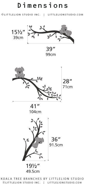 Grey Wall Decal Kids Wall Decor Baby Nursery Tree Wall Decal - Koala Tree Branches by LittleLion Studio