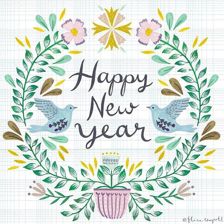 Happy New Year! May your year blossom and grow like a beautiful plant xFlora #happynewyear #illustration #florawaycott