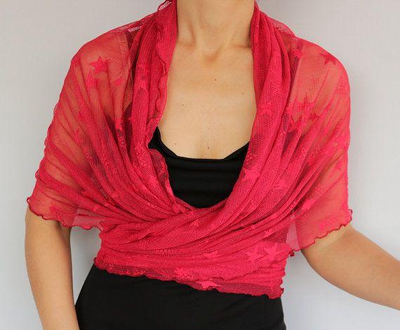 Red Tulle Wrap Shrug Shawl Bolero Bridesmaids Plus by mammamiaeme