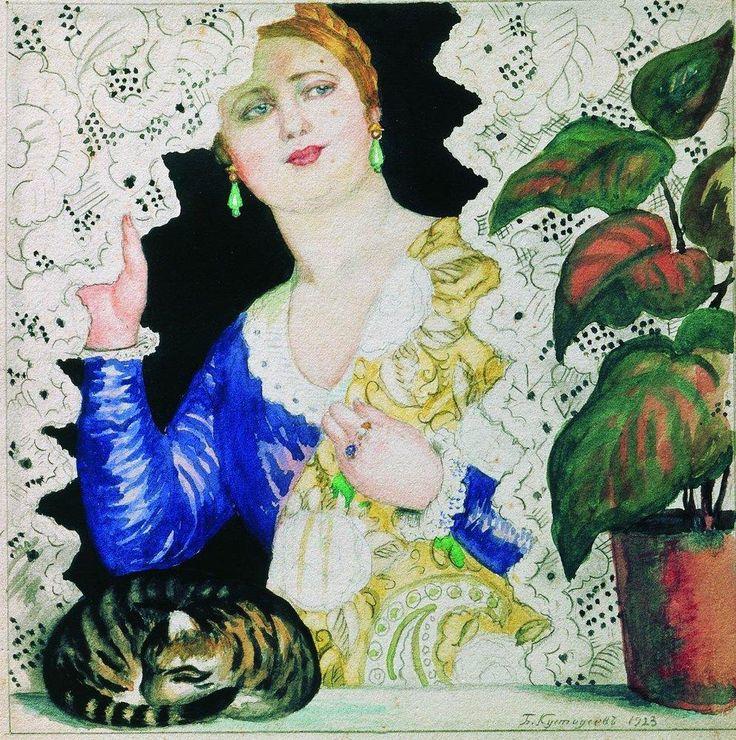 Russian girl near the window - Boris Kustodiev,