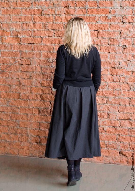 Купить Юбка из хлопка с шорохом art.87a - тёмно-серый, в полоску, юбка, юбка длинная
