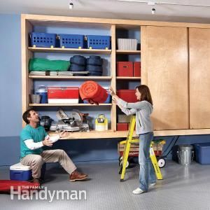 HowTo build your own giant cabinet with sliding doors... lots of other garage/indoor storage ideas at this website