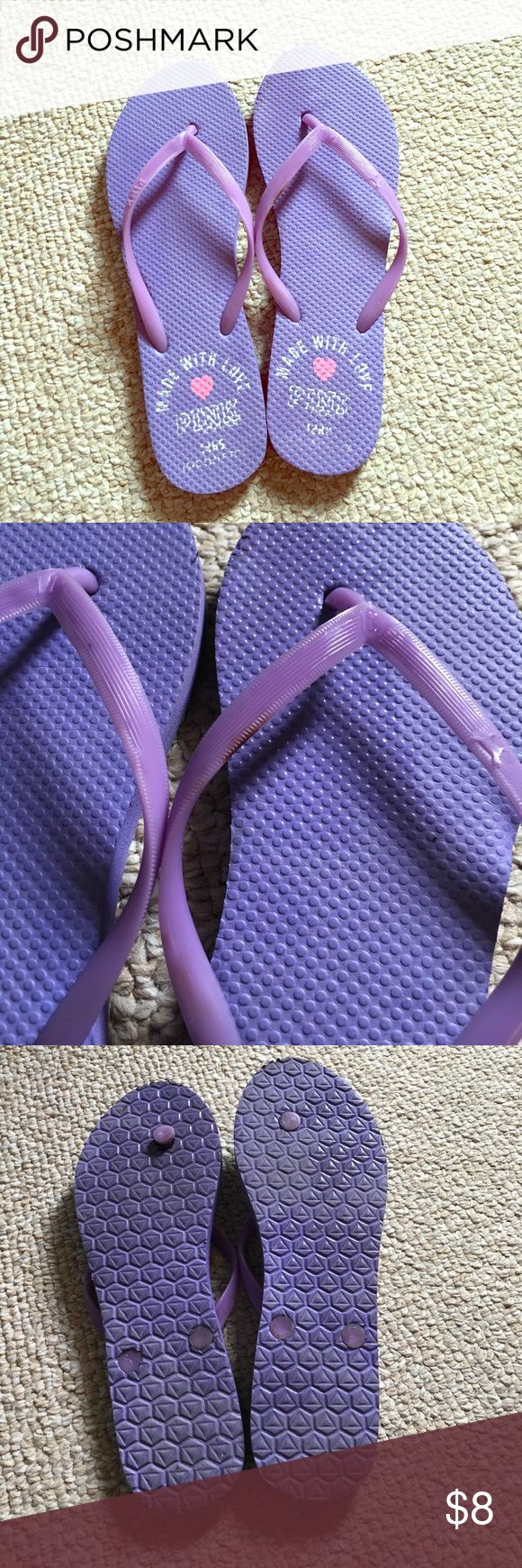 Victoria's Secret flip flops Used, thoroughly cleaned purple flip flops (Pink by Victoria's Secret brand) - size 8 PINK Victoria's Secret Shoes Sandals