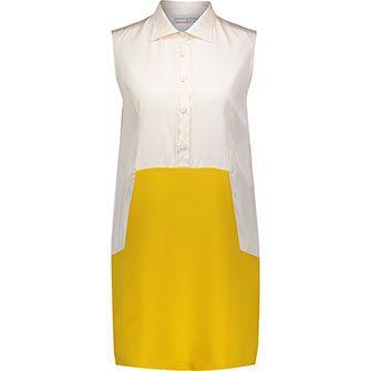 White & Gold-Tone Sleeveless Shirt Dress
