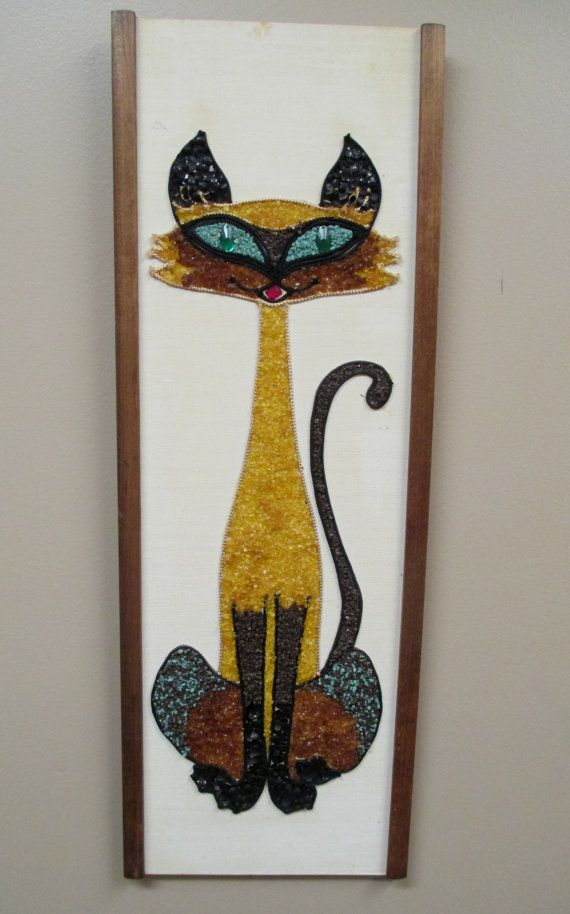 Vintage 60s Gravel Mosaic Siamese Cat Wall Art Big Eyed Gold Brown Green Pebble Hanging