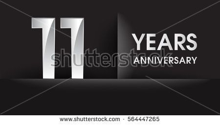 eleven years Anniversary celebration logo, flat design isolated on black background, vector elements for banner, invitation card for celebrating 11th birthday party