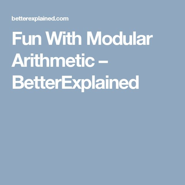 Fun With Modular Arithmetic – BetterExplained