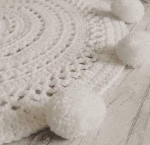 White Nursery Rug With Pom Edge Kids Room