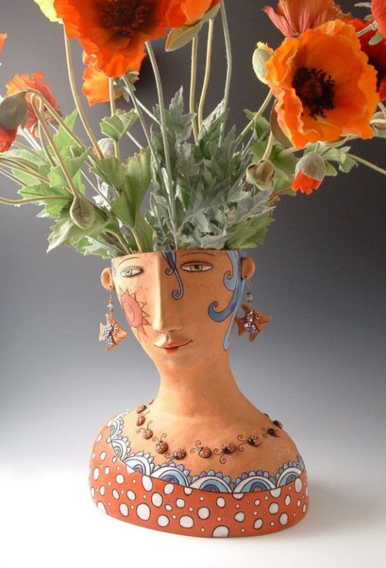 Ceramic Head with floral hair!