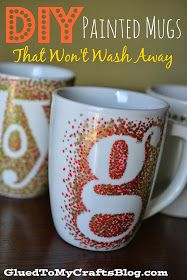 DIY Painted Mugs - That Won't Wash Away.  The photo shows a letter ... but you could also use a Mickey head or other Disney design