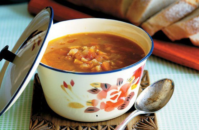 Red lentil and tomato soup recipe from Poh's Kitchen. Get the #recipe here.