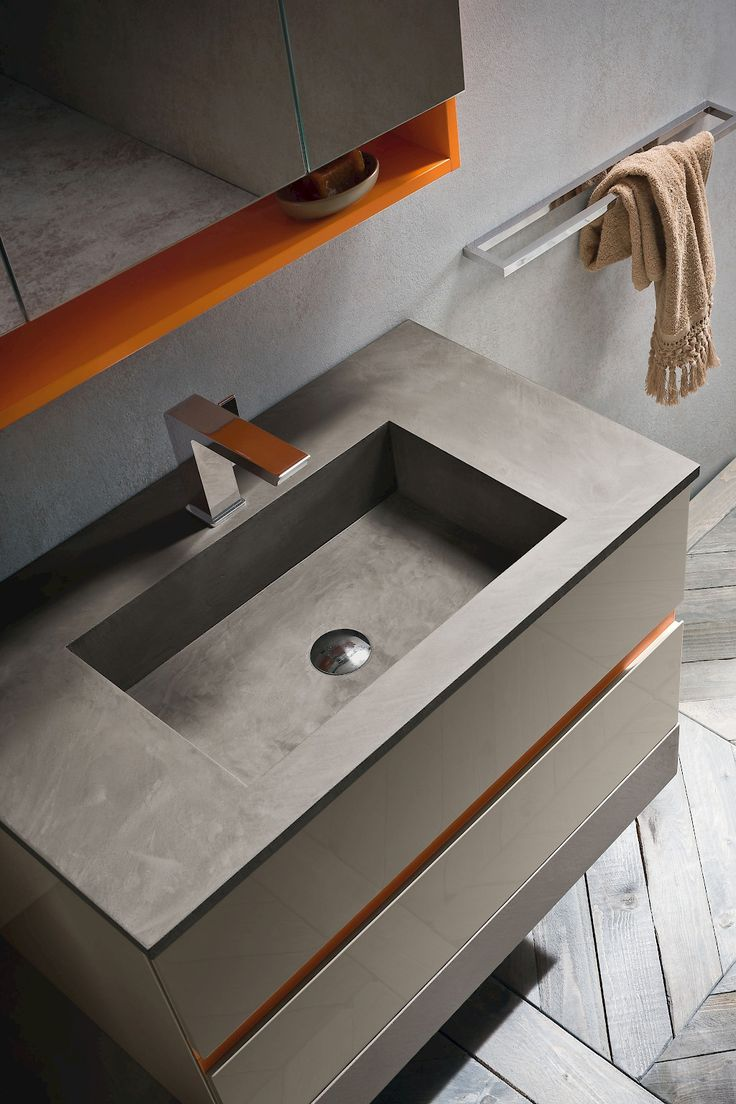 "JA39 | JACANA LUXURY | Compab.Structure and doors: 901 Glossy Lacquered (Q6 CANAPA), ""Petrus"" washbasin in Eco-resin, Top in eco-resin, dark grey finish"