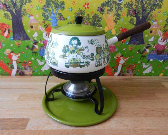 Vintage fondue set Figgjo Flint Norway Turi Market Mid.Century 60s on Etsy, $108.10