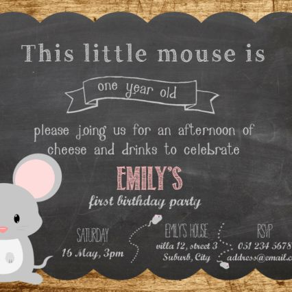 First Birthday party invitation on wood background and chalkboard. The theme colour used in this sample is soft pink.