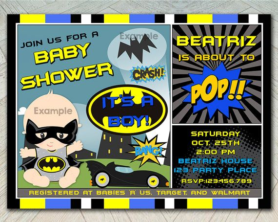 50% OFF SALE - Batman Baby Shower Invitation, Super Hero Baby Shower, Batbaby , Batman invite, Baby shower invitation printable