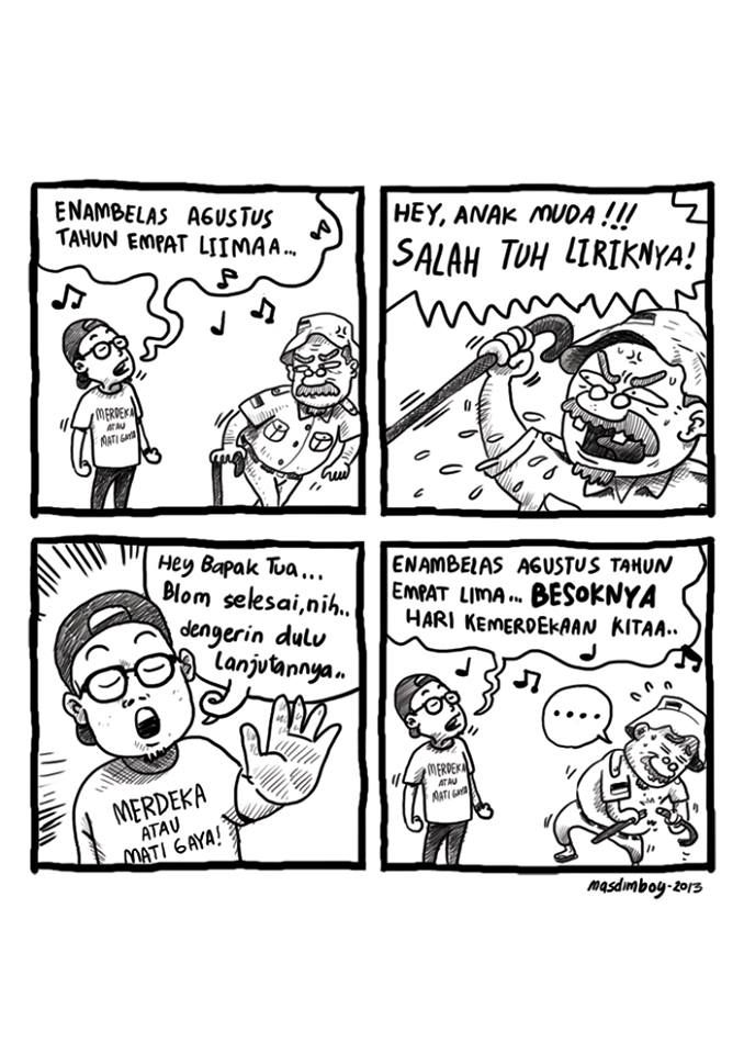 Here are some examples of inspiration i found online. I really liked how this humor comic drawn with very simple drawings and rough lines. MASDIMBOY - besoknya hari kemerdekaan kita ...