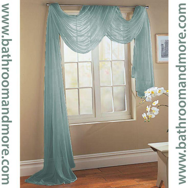 Window Scarf 3 Dusty Blue Sheer Voile Window Scarf