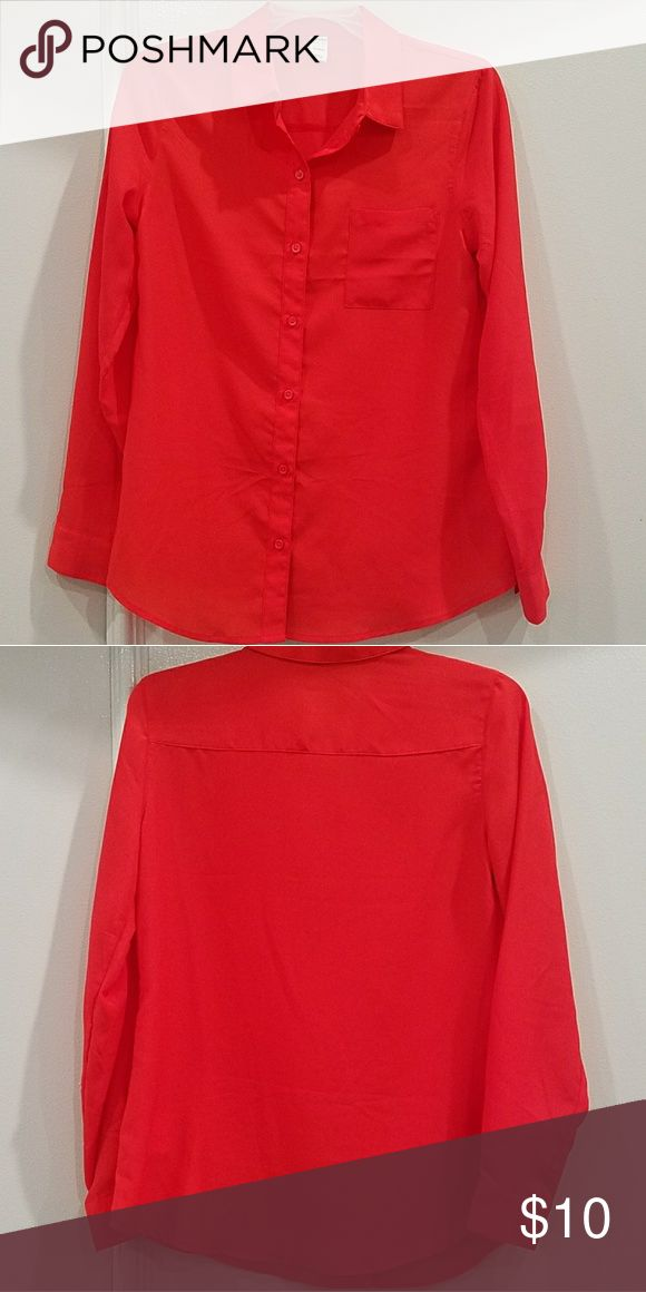 Old Navy 100% Polyester Dress Shirt - Red Worn once for a conference. Goes well with pant or dress suit. Great condition. Ships from Irvine, CA. Old Navy Tops Button Down Shirts