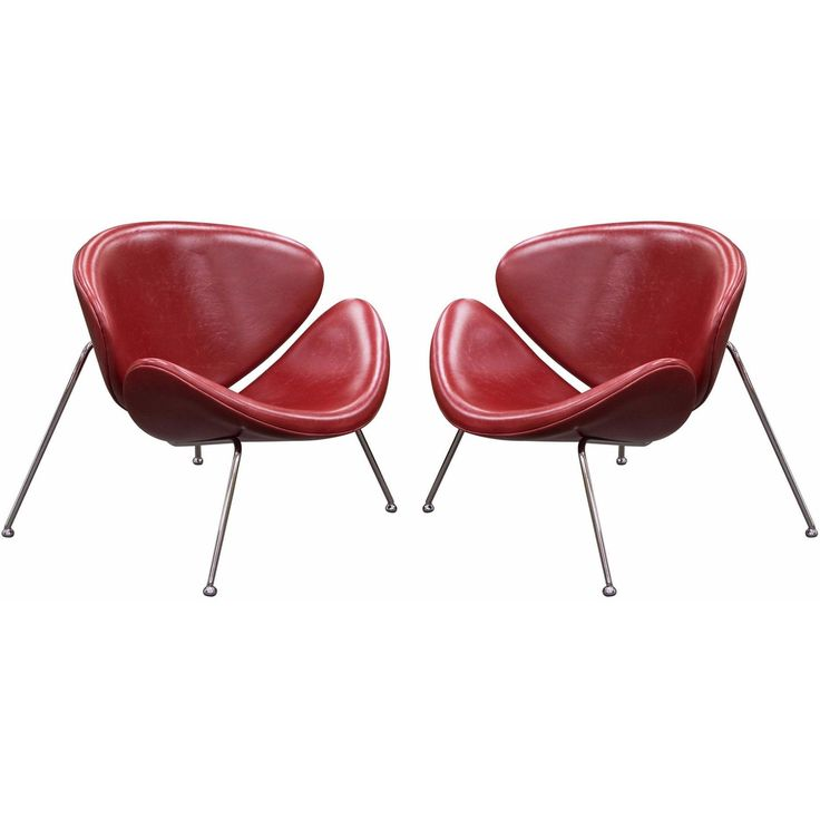 Set of (2) Roxy Vintage Red Accent Chair with Chrome Frame by Diamond Sofa