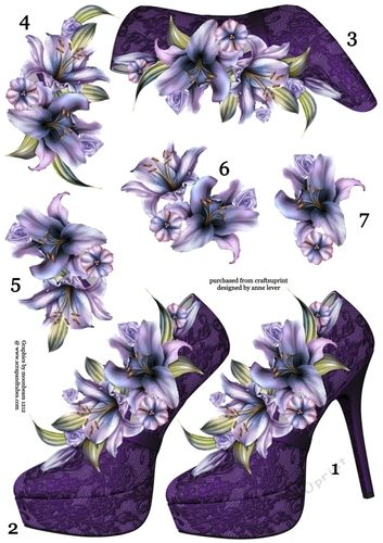 This A4 sheet contains a shoe and lily topper, with six extra decoupage layers, making seven layers in total. This is perfect for people who want to use their own stash of backing papers and embellishments.