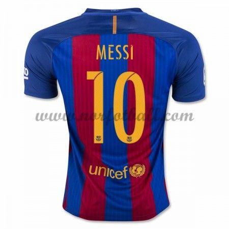 Billige Fotballdrakter Barcelona 2016-17 Messi 10 Hjemme Draktsett Kortermet