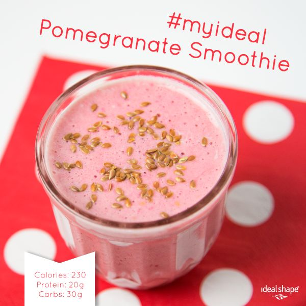 PACKED WITH PROTEIN: 1 scoop vanilla Idealshake, 1/2 cup pomegranate juice, 1/2 cup water, 1/4 cup fat free greek yogurt. Add ice and blend! #idealshape #smoothie #pomegranate #protein