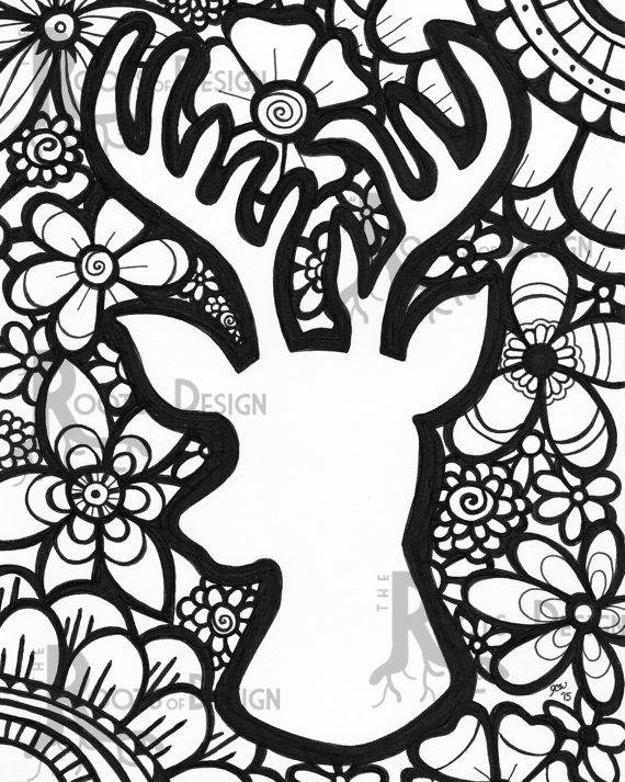 instant download coloring page deer head with flowers print zentangle inspired doodle art printable