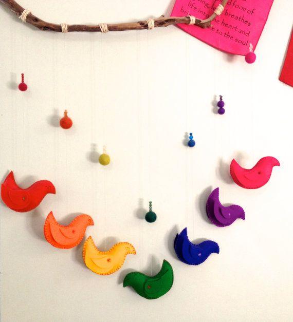 Steiner Waldorf Inspired Felt Rainbow Birds Mobile Hanging Decoration Home Decor Nursery