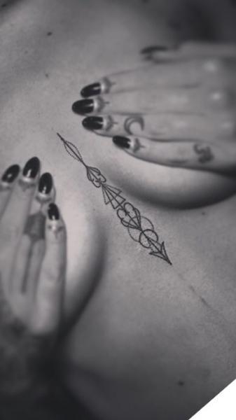 """Tattoo designs for """"Fleur de Lis florentine lily & Labrador head neotraditional geometric design dot-work""""   Tattoodo.com"""