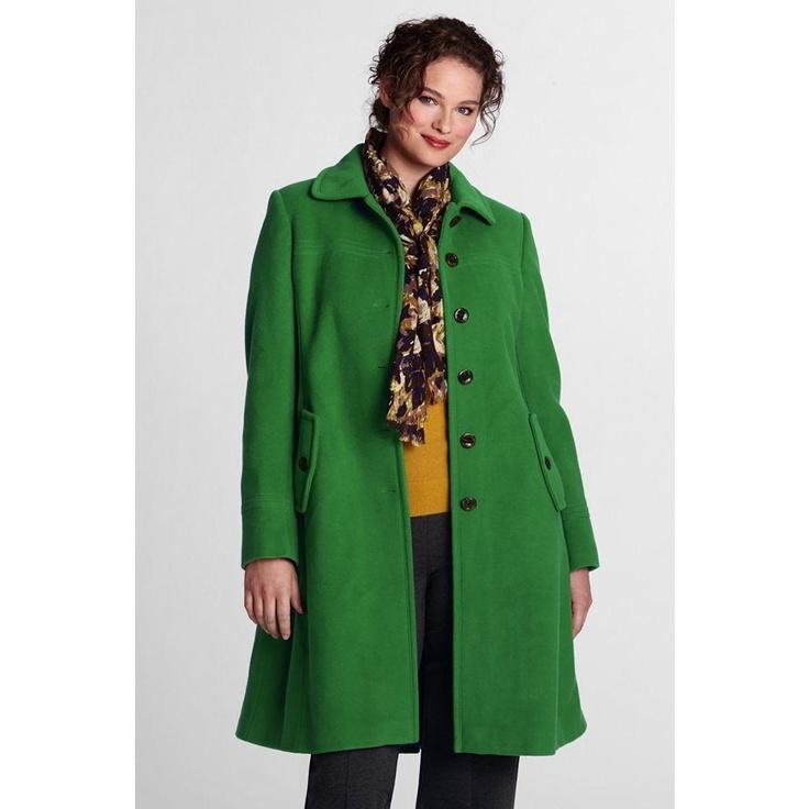 Lands End Women's Plus Size Luxe Wool Swing Car Coat