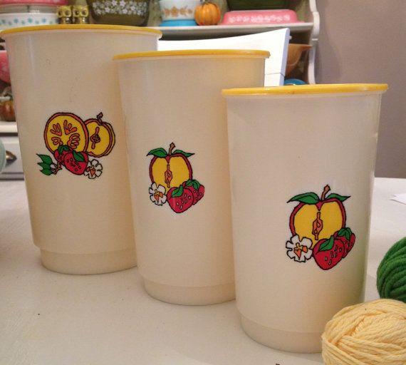Kitchen Set Orange: Vintage Kitchen Canister Set Apples, Strawberries And
