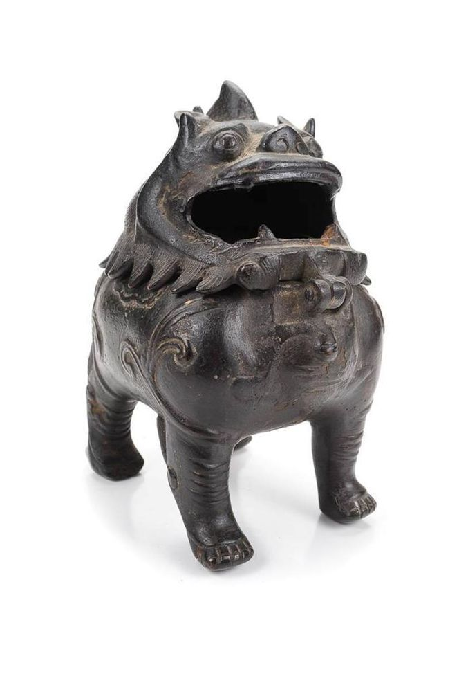 Chinese 19th C. Beautiful Chin Dynasty Bronze Foo Dog Incense Burner-Rare