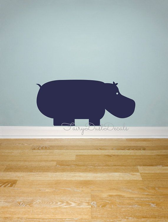 Hippo Wall Decal Animal Wall Decal Baby By FairyDustDecals Part 62