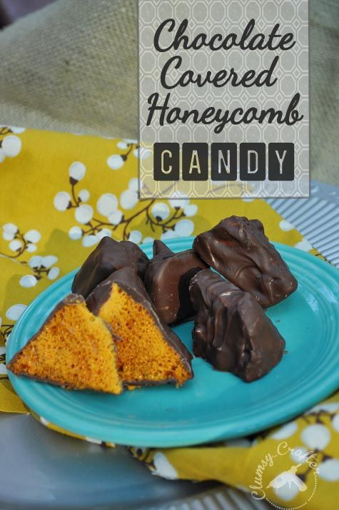 Chocolate Covered Honeycomb Recipe - Easy recipe that makes a great candy to giveaway for Christmas or Thanksgiving.