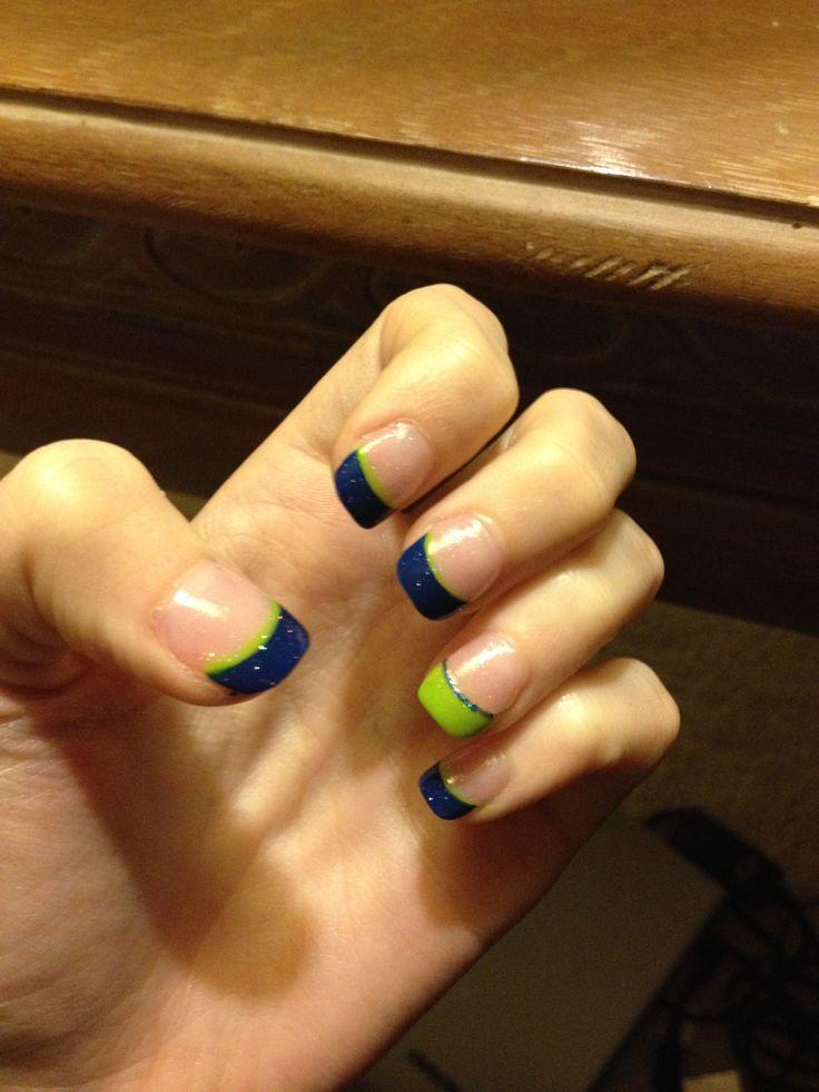 seahawk nail design