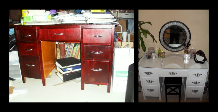 My Desk To Vanity Makeover The Before And After Picture