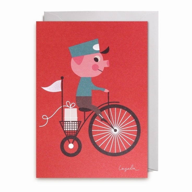Greeting #card piggy delivery by #Ingela P #Arrhenius from www.kidsdinge.com https://www.facebook.com/pages/kidsdingecom-Origineel-speelgoed-hebbedingen-voor-hippe-kids/160122710686387?sk=wall
