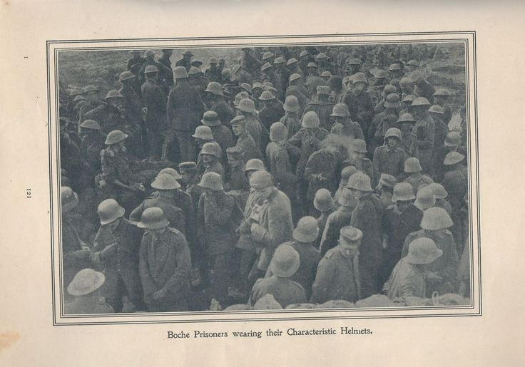 """Original 1917 Anzac Print-Antique Vintage """"Boche Prisoners wearing their Charact"""