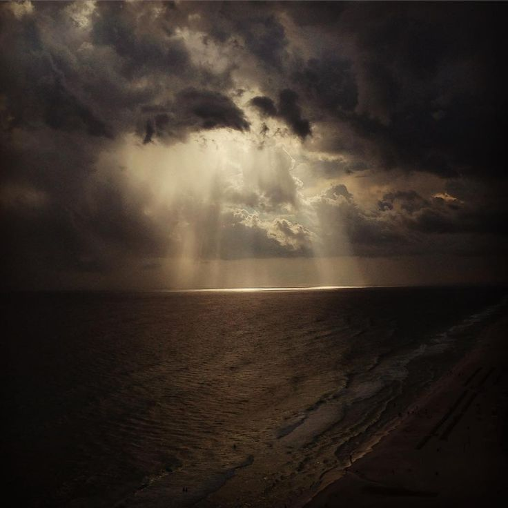 "paigesarchventurepages: "" There is a storm brewing. The sun is piercing the clouds here in Florida. Veiw from the 19th floor. #summer #vacation #florida #storms #art #beach #sun #dark #rays "" Brewing storm"