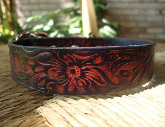 Flame Hibiscus Collar. Custom Size Leather Dog Collar. Fiery Orange and Blackened Blue Embossed Design.  Small, Medium, or Large. $38.00, via Etsy.