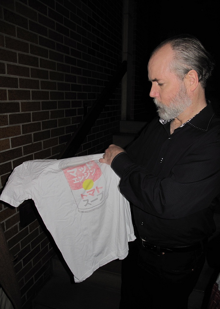 Doug Coupland with a Gifted Japanese Andy Warhol T-Shirt