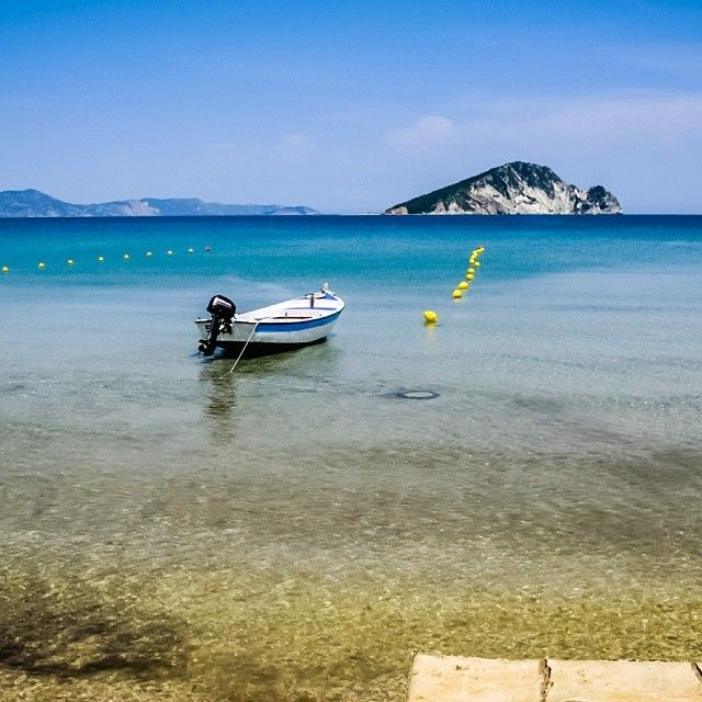 View of Marathonissi  Turtle Island from Keri beach in Zakynthos  #Zakynthos #Marathonissi #turtle #island #Keri #beaches #Sun #sand #sea #boat #sky #travel #summer #holiday #vacation #tourism #Greece #Greek #islands #destination #view #fantastic #scenery #warm #sunny #day