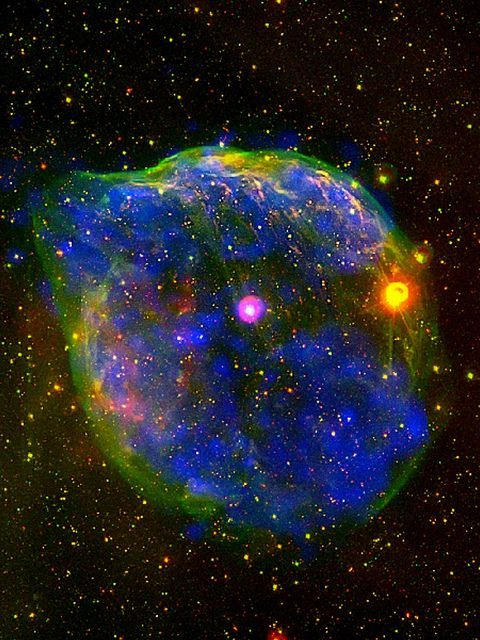 a Wolf ~ Rayet nebula is a nebula which surrounds a Wolf ~ Rayet star which is [often referred to as WR stars] a heterogeneous set of stars with unusual spectra showing prominent broad emission lines of highly ionised helium & nitrogen or carbon + the spectra indicate very high surface temperatures of 30,000 K to around 200,000 K, surface enhancement of heavy elements, strong stellar winds