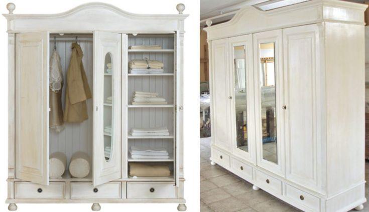 Billig kleiderschrank weiß gebraucht     Schrank mit spiegel, Landhaus möbel, Küchenschrank