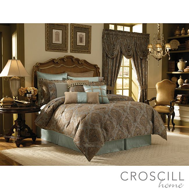 Dress your king-size bed in elegant luxury with this woven cotton and damask Croscill comforter set. This four-piece aqua and beige set comes with a comforter, a bedskirt, and two pillow shams, so it makes redecorating easy and convenient.