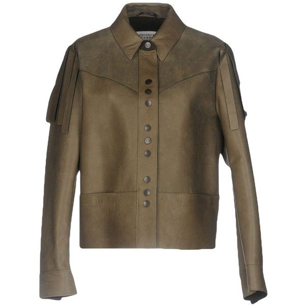 Maison Margiela Jacket ($1,890) ❤ liked on Polyvore featuring outerwear, jackets, military green, real leather jackets, brown jacket, leather jackets, olive green leather jacket and brown fringe jacket